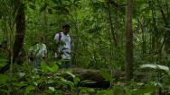 Stock Video Footage of Pan with a Group of people walking trough the jungle