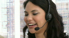 Laughing custormer service representative Stock Footage