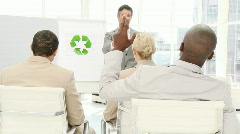 Confident business man presenting the concept of recycling Stock Footage