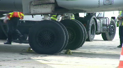 Airline Aircraft Under Carriage Wheels Stock Footage