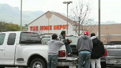 Home Depot Parking Lot Workers (Sequence) Stock Footage