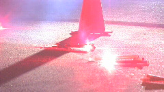 Road flares with cones Stock Footage