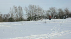 Man on cross-country skis make a trail Stock Footage