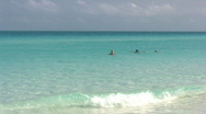 Tourists Snorkelling In The Sea At Varadero Beach Cuba Stock Footage