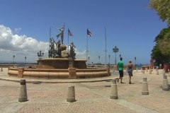 Puerto Rico - People at Paseo Princesa Fountain Old San Juan Stock Footage