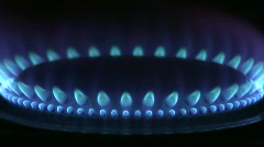 Blue flames of a gas stove - stock footage