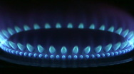 Stock Video Footage of Blue flames of a gas stove