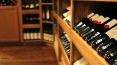 Racks of wine in a winery - stock footage