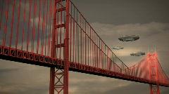 121 UFOS golden gate bridge san fransisco Stock Footage