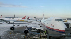 London Heathrow Airport in Winter (HD) Stock Footage