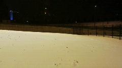Snowy scene near main road Stock Footage