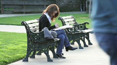 Woman Studying in Park Stock Footage