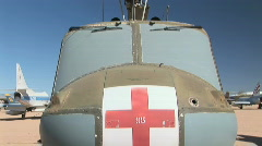Close Up of Red Cross on Military Medevac Helicopter  Stock Footage