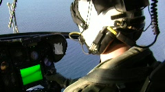 Helicopter Pilot Flies over Water  (HD) m Stock Footage