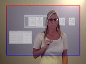 Beautiful Blonde Businesswoman Opens Virtual Documents (1) Stock Footage
