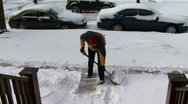 Shoveling Snow Stock Footage