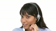 Charming businesswoman using headset Stock Footage