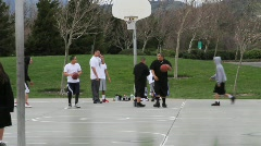 Basketball in Public Park Stock Footage