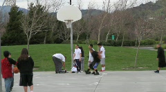Basketball in Public Park 2 Stock Footage