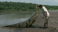 Stock Video Footage of Man feeds HUGE wild crocodile! Costa Rica Tarcoles River 09