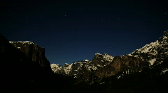 Yosemite Valley Night Time Lapse 2 Stock Footage