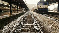 Railway tracks in winter Stock Footage