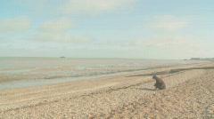 Woman on pebble beach Stock Footage