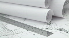 Rolls of architectural drawings & tools Stock Footage