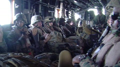 Marines Riding inside Helicopter Stock Footage