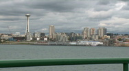 View of Space Needle from ferry Stock Footage