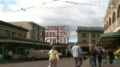 Visitors enter Pike Place Market Stock Footage