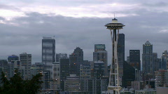 Windy Seattle skyline - time lapse - stock footage