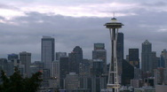 Stock Video Footage of Windy Seattle skyline - time lapse