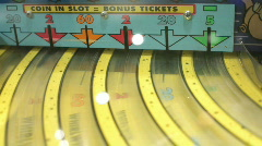 Coin in Slot Bonus Ticket Game Stock Footage