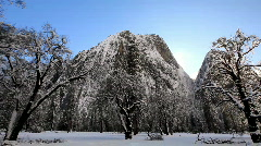 Yosemite snow and sun beam Stock Footage