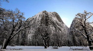 Stock Video Footage of Yosemite snow and sun beam