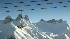 Skiers using skilift Stock Footage