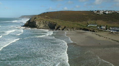 Time lapse of Porthtowan beach waves. Stock Footage