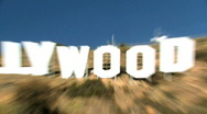 Stock Video Footage of Crash Zoom of Hollywood Sign