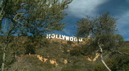 Stock Video Footage of Hollywood Sign on L.A. hillside