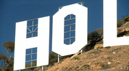 Stock Video Footage of Hollywood Sign in Close-up