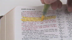 Highlighting KJV Bible Verses Stock Footage