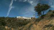 Stock Video Footage of Time-lapse Clouds Over Hollywood Sign