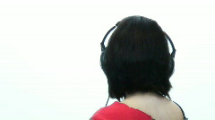 Emo goth girl listneing to music - 3 Bobble head  turn Stock Footage
