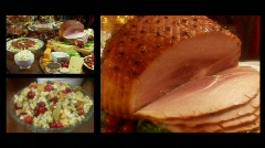 Holiday Feast Montage featuring Ham and all the fixins Stock Footage