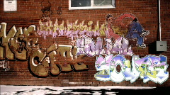 Graffiti on brick wall animation with textbox Stock Footage