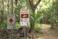 Beach warning signs no swimming Maunabo Stock Footage