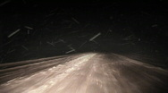 Stock Video Footage of Night driving during winter blizzard