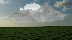 Fast approaching storm over the prairie - stock footage