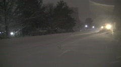 Plows approaching night silent 30s Stock Footage